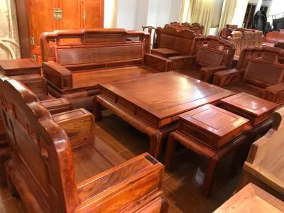 缅甸花梨木沙发国色天香10件套厂家直销