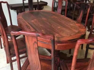 精品大红酸枝椭圆餐桌各种花色款式园餐桌厂家批发