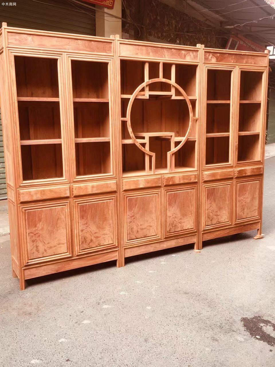 缅甸花梨大果紫檀三组合书柜价格多少钱采购