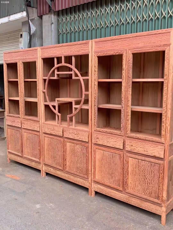 缅甸花梨大果紫檀三组合书柜价格多少钱图片