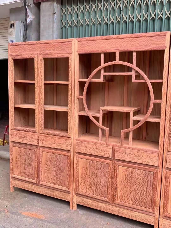 缅甸花梨大果紫檀三组合书柜价格多少钱厂家