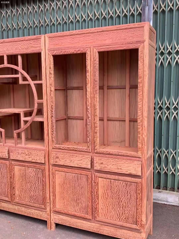 缅甸花梨大果紫檀三组合书柜价格多少钱供应