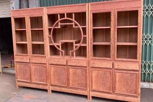 缅甸花梨大果紫檀三组合书柜细节图视频
