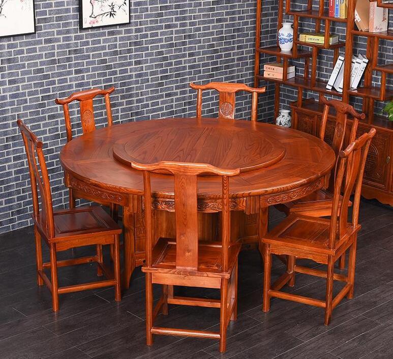 求购:老榆木圆餐桌6椅子