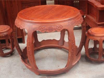 浙江工艺家具市场缅甸花梨木明轩鼓桌凳红木家具图片
