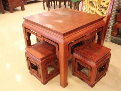 东阳古典红木家具缅花博古方桌