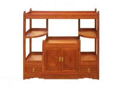 东阳木雕红木家具市场缅甸花梨木花边茶水柜价格