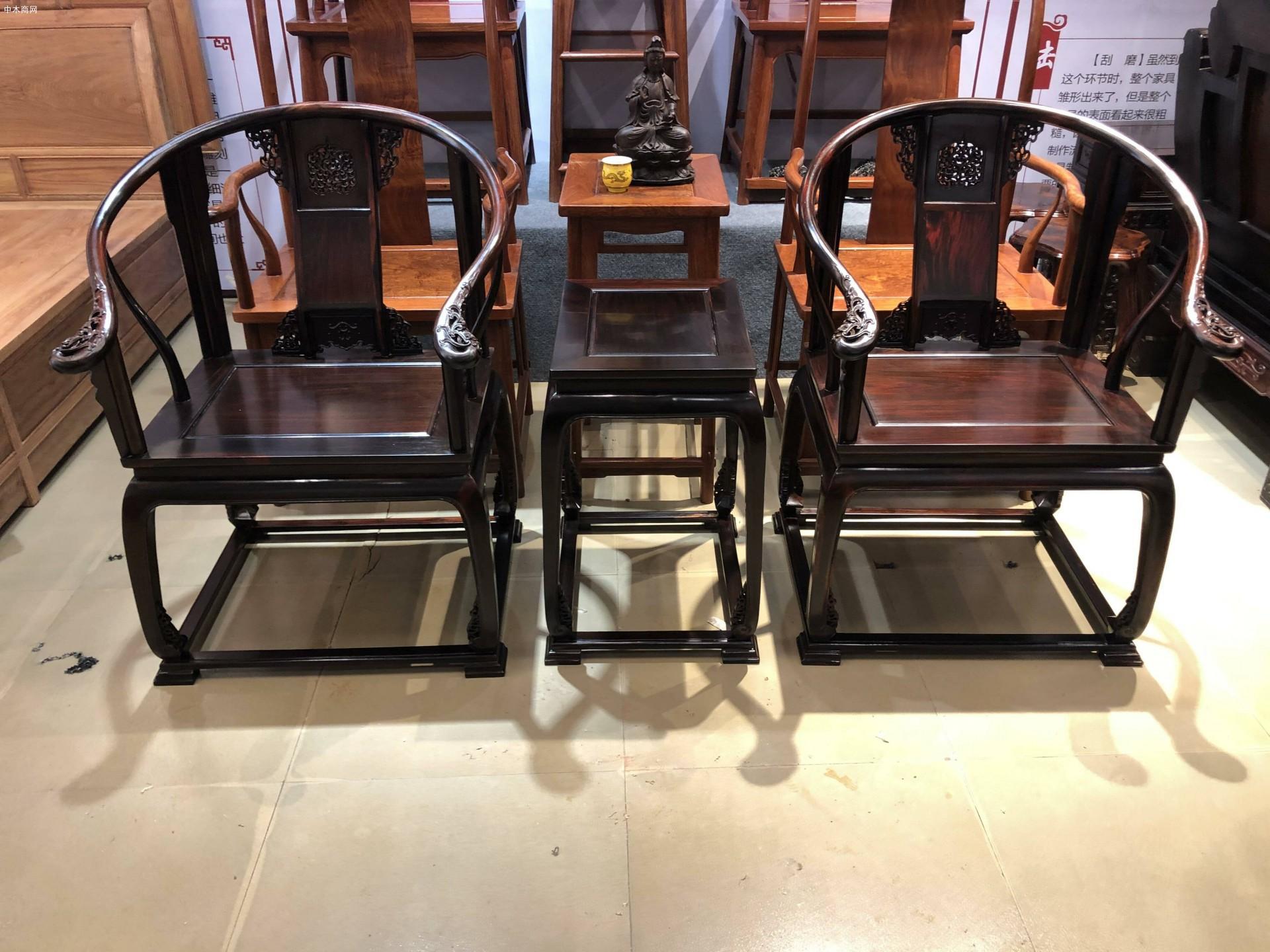 交趾黄檀大红酸枝皇宫椅三件高清图片供应价格