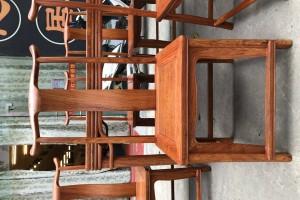 匠心居缅甸花梨木餐桌七件套高清图片