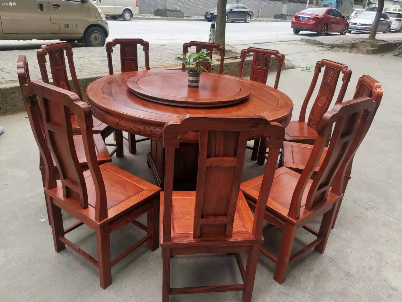 1.6米缅甸花梨木圆台配10张国色天香椅价格批发