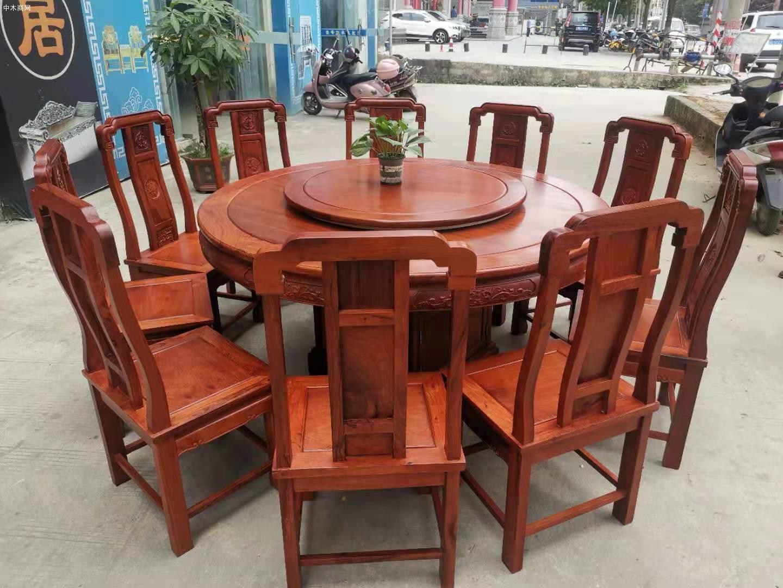 1.6米缅甸花梨木圆台配10张国色天香椅价格报价