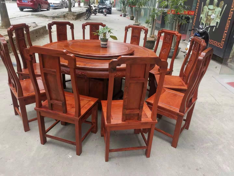 1.6米缅甸花梨木圆台配10张国色天香椅价格厂家