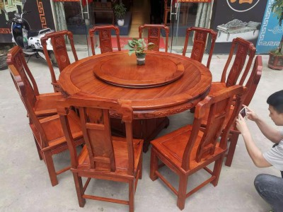 1.6米缅甸花梨木圆台配10张国色天香椅价格