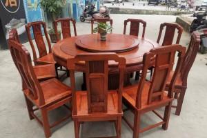 1.6米缅甸花梨木圆台配10张国色天香椅高清图片