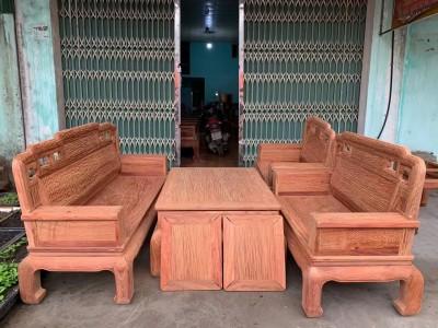 缅甸花梨满水波纹国色天香六件套沙发