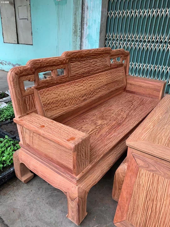 缅甸花梨满水波纹国色天香六件套沙发价格