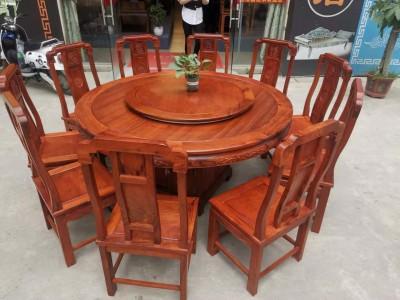 1.6米缅甸花梨木圆台配10张国色天香椅厂家