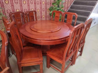 缅甸花梨木圆餐桌批发厂家