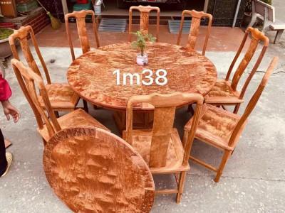 1.38火焰纹缅甸花梨木圆台餐桌厂家直销