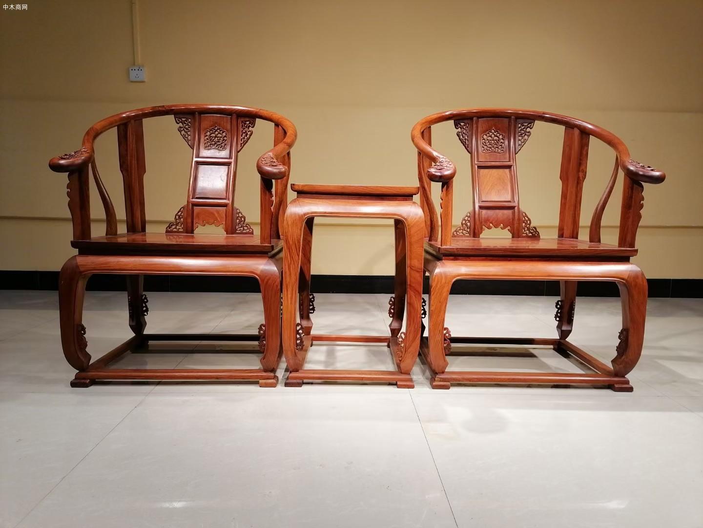 大果紫檀皇宫椅三件套批发
