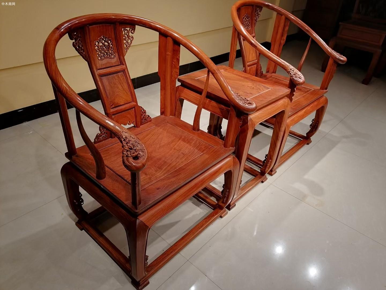 大果紫檀皇宫椅三件套厂家