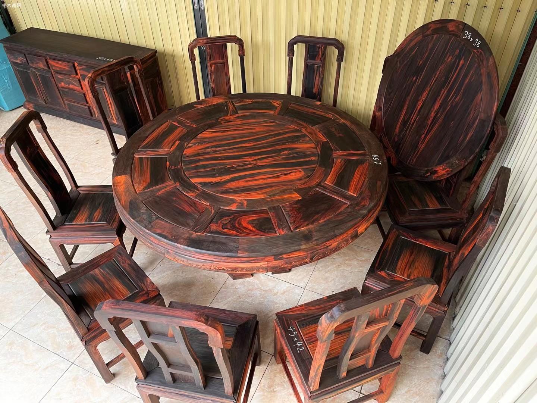大红酸枝圆餐桌生产厂家图片
