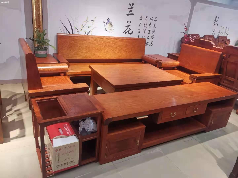 大果紫檀光板沙发6件套配电视柜共7件成品价格多少钱