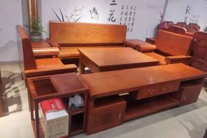 大果紫檀光板沙发6件套配电视柜共7件成品价格多少钱?