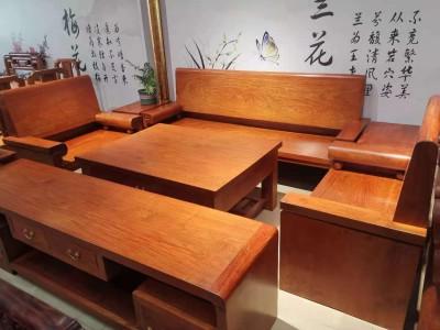 大果紫檀光板沙发6件套配电视柜共7件成品厂家批发价格