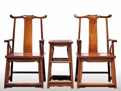 精工制做缅甸花梨官帽椅三件套生产厂家