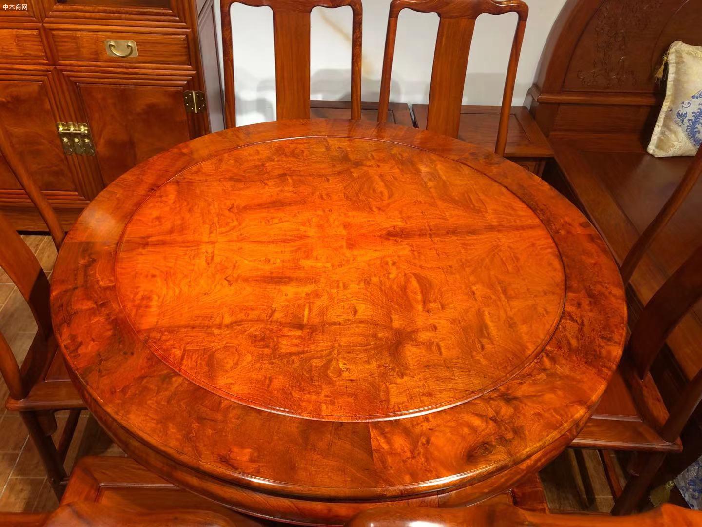 缅甸花梨圆餐桌好不好图片
