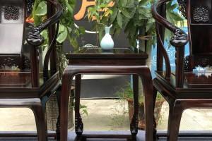顶级品质交趾黄檀大红酸枝皇宫椅三件套高清图片