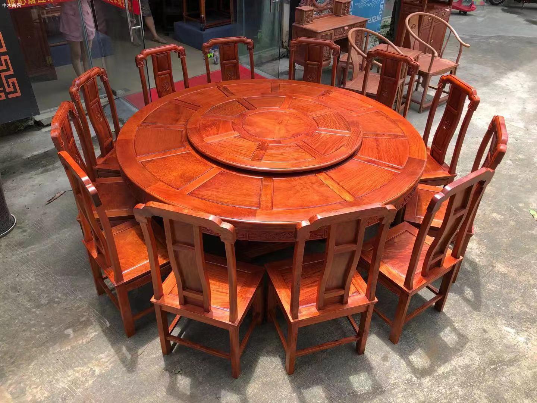 缅甸花梨国色天香两米大圆餐桌哪里可以批发价格
