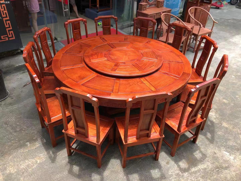 缅甸花梨国色天香两米大圆餐桌哪里可以批发厂家