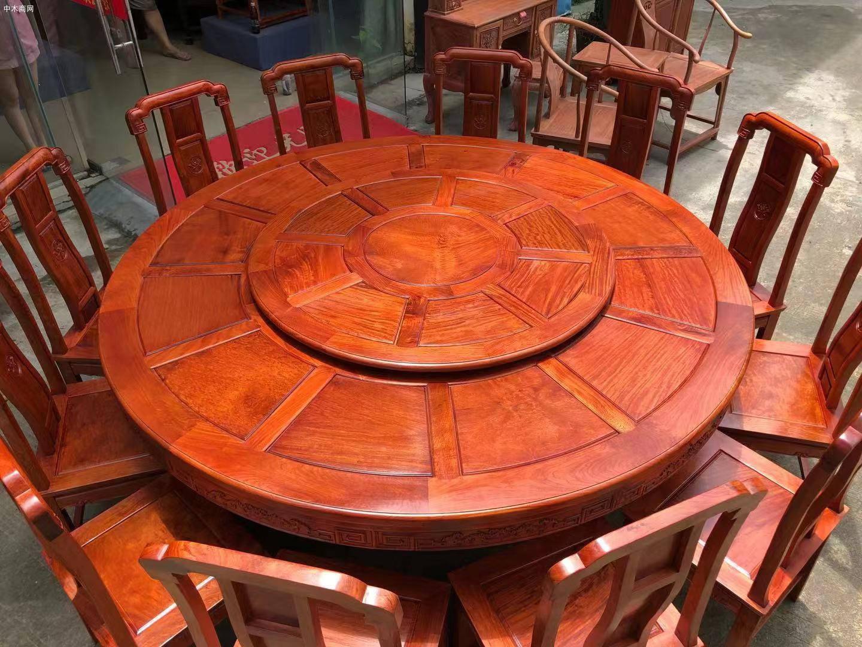 缅甸花梨国色天香两米大圆餐桌哪里可以批发图片