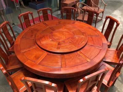 缅甸花梨国色天香两米大圆餐桌厂家直销