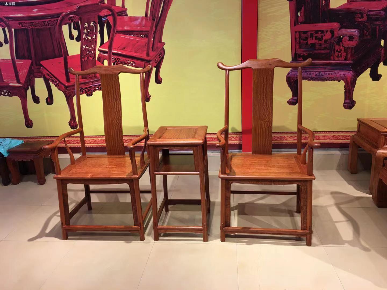 缅甸花梨官帽椅3件套多少钱