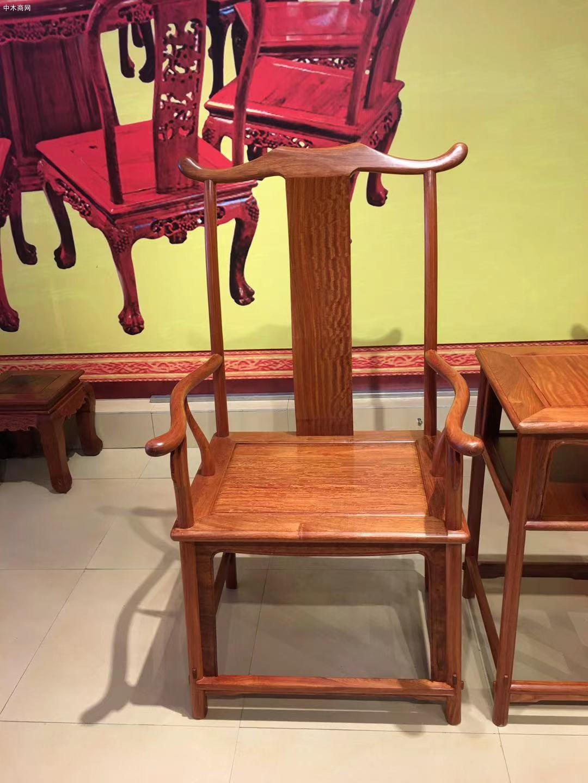 缅甸花梨官帽椅3件套多少钱价格