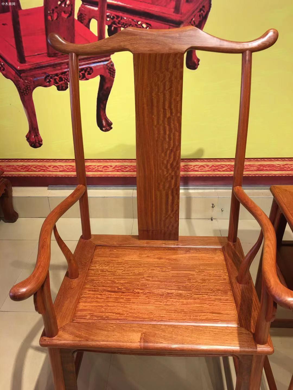 缅甸花梨官帽椅3件套多少钱品牌