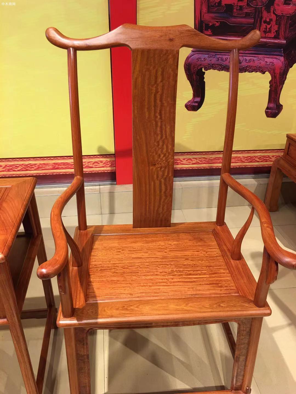 缅甸花梨官帽椅3件套多少钱图片