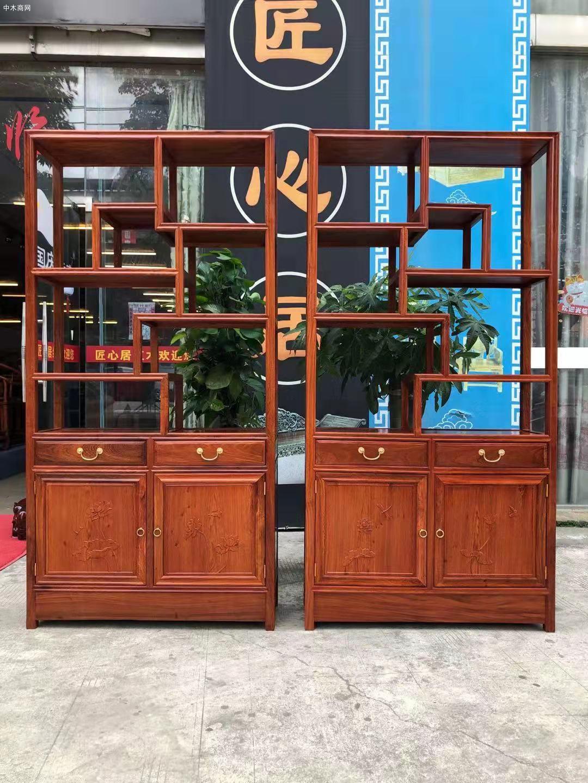 匠心居缅甸花梨博古架红木家具高清图片