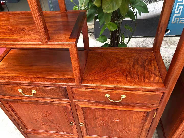 匠心居缅甸花梨博古架红木家具高清图片供应