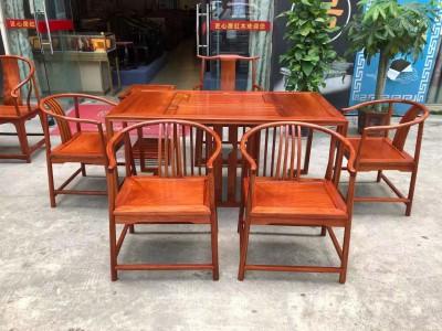 缅甸花梨新明式茶台七件套组合现货供应厂家