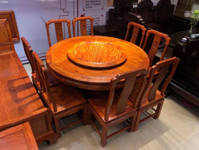 缅甸花梨木国色天香圆桌9件套高清图片
