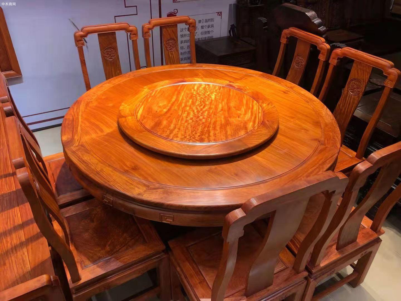 缅甸花梨木国色天香圆桌9件套高清图片效果图