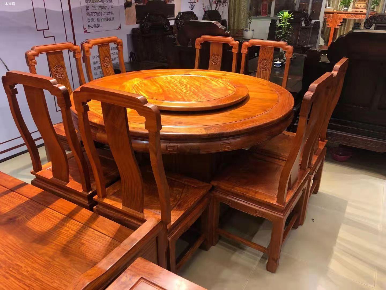 缅甸花梨木国色天香圆桌9件套高清图片厂家