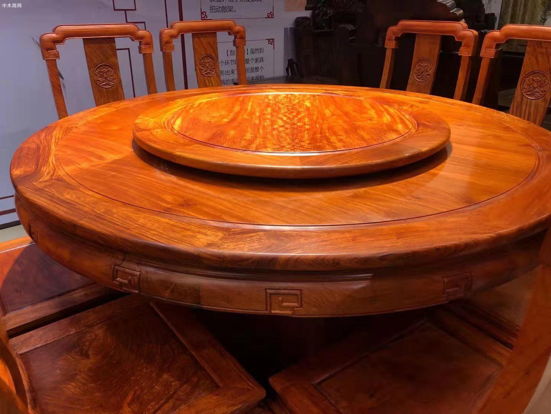 缅甸花梨木国色天香圆桌9件套高清图片品牌