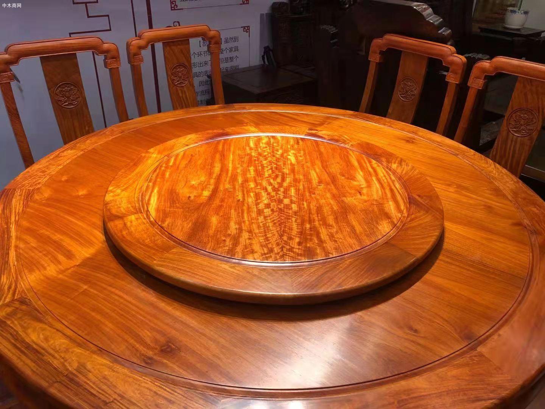 缅甸花梨木国色天香圆桌9件套高清图片价格
