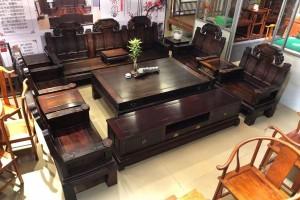老挝大红酸枝交趾黄檀大如意沙发十一件套多少钱?