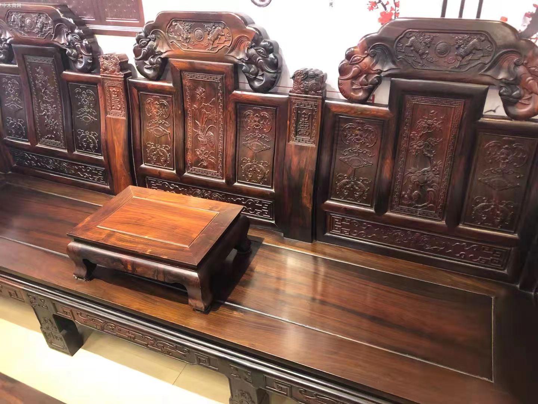 老挝大红酸枝交趾黄檀大如意沙发十一件套最新价格厂家